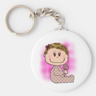 Baby girl light brown hair keychain