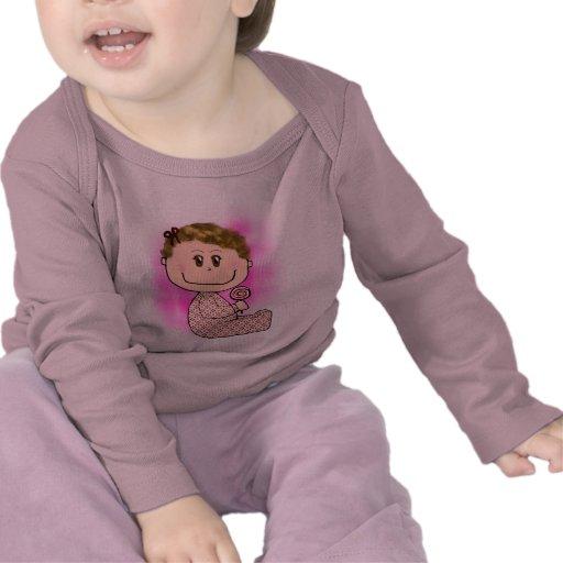 Baby girl light brown hair tee shirt