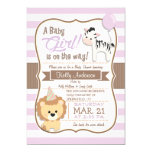 Baby Girl Lion & Zebra Pastel Purple Baby Shower Card