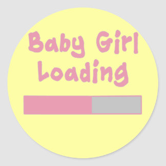 Baby Girl Loading Classic Round Sticker