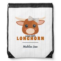 Baby Girl Longhorn Burnt Orange Baby Drawstring Bag