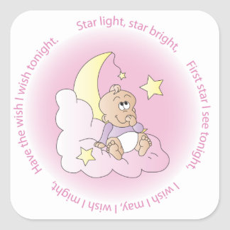 Baby Girl Make a Wish Square Sticker