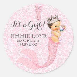 Baby Girl Mermaid Princess Crown Announcement Classic Round Sticker