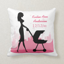 Baby Girl Metro Birth Announcement Pink City Pillows
