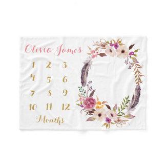 Baby Girl Milestone Monthly Baby Blanket