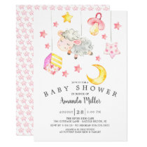 Baby Girl Mobile Lamb Baby Shower Invitation