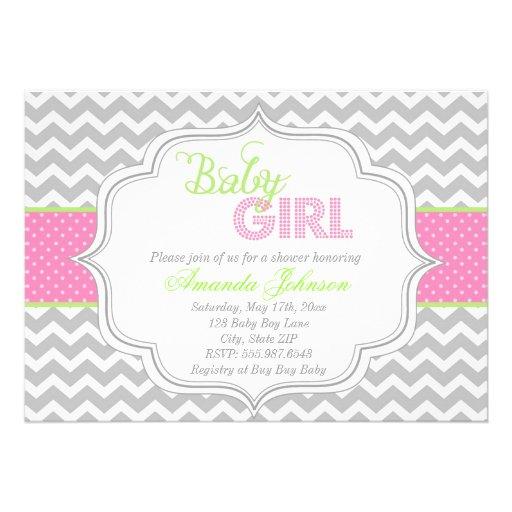 baby girl mod chic chevron baby shower invite 5 x 7 invitation ca