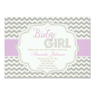 "Baby Girl Mod Chic Chevron Baby Shower Invite 5"" X 7"" Invitation Card"