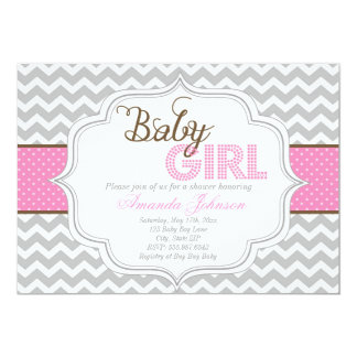 Baby Girl Mod Chic Chevron Baby Shower Invite