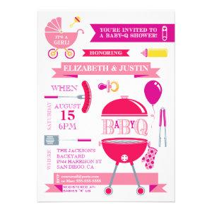 Baby Girl - Modern BBQ Shower Invitation