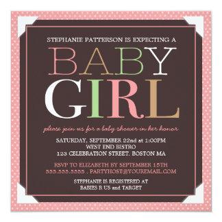 Baby Girl Modern Pink & Brown Baby Shower Card