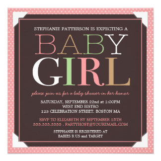 Baby Girl Modern Pink & Brown Baby Shower Announcements