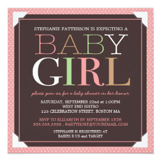 Baby Girl Modern Pink & Brown Baby Shower 5.25x5.25 Square Paper Invitation Card