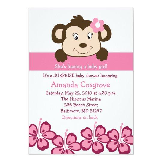BABY GIRL Monkey Hibiscus Flower 5x7 Baby Shower Card