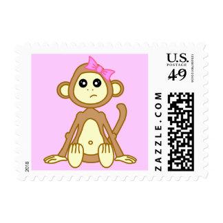 Baby Girl Monkey Pink Postage
