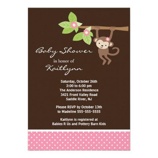 Baby Girl Monkey Safari Baby Shower Invitation