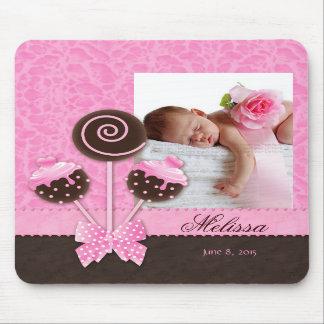 Baby Girl Mousepad Cute Cake Pops Pink