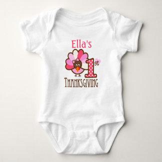 Baby Girl My First Thanksgiving Pink Bodysuit