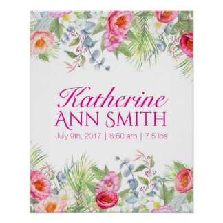 Baby Girl Name Birth Stat Custom Floral Art Poster