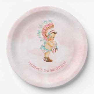 Baby Girl Native Headdress Moccasins Blush Aqua Paper Plate
