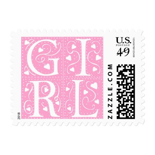 Baby Girl New Baby Announcement Stamps