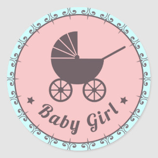 Baby Girl New Born Sticker Pink Brown And Blue
