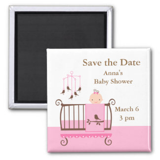 Baby Girl Nursery 2 Inch Square Magnet