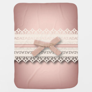 baby girl nursery princess lace blush pink bow stroller blanket