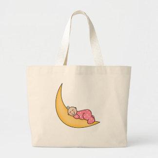 Baby Girl on Moon Canvas Bags