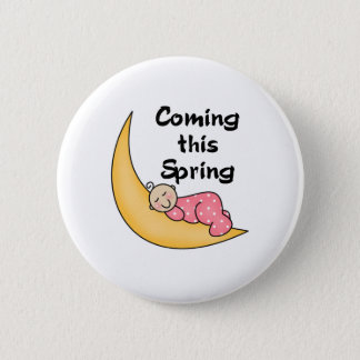 Baby Girl on Moon Spring Pinback Button