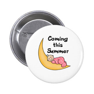 Baby Girl on Moon Summer Pinback Button