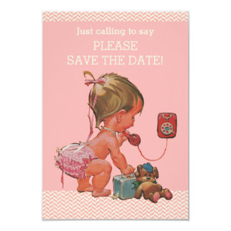Baby Girl On Phone Baby Shower Save The Date Card