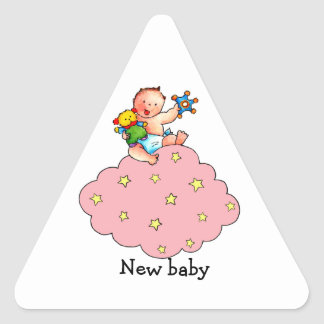 Baby Girl on Pink Cloud Sticker