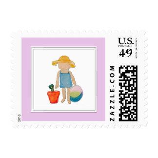 Baby Girl on Summer Beach Birthday Rose Pink Stamp