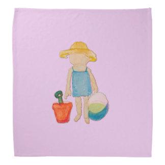 Baby Girl on Summer Beach Birthday Rose Pink Stamp Bandana