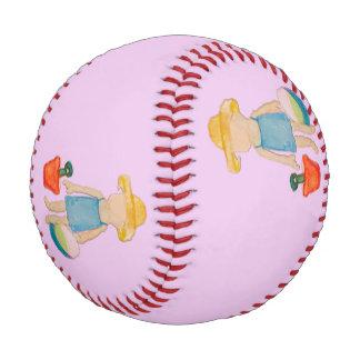 Baby Girl on Summer Beach Birthday Rose Pink Stamp Baseball