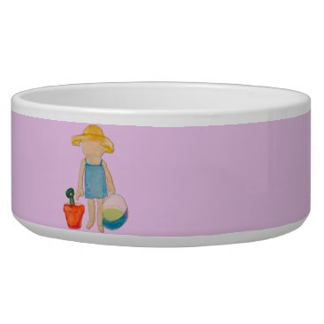 Beach Themed Baby Girl on Summer Beach Birthday Rose Pink Stamp Bowl