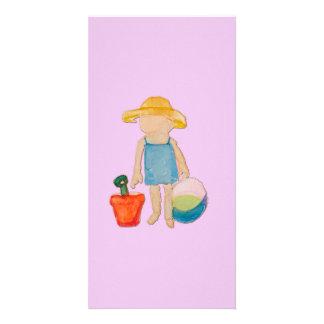 Baby Girl on Summer Beach Birthday Rose Pink Stamp Card