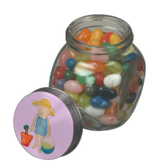 Baby Girl on Summer Beach Birthday Rose Pink Stamp Glass Candy Jars