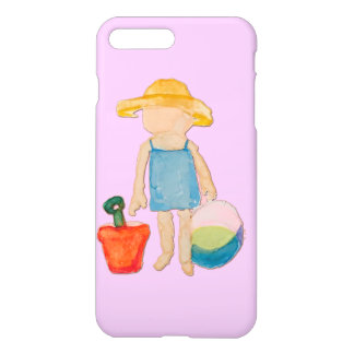 Baby Girl on Summer Beach Birthday Rose Pink Stamp iPhone 7 Plus Case
