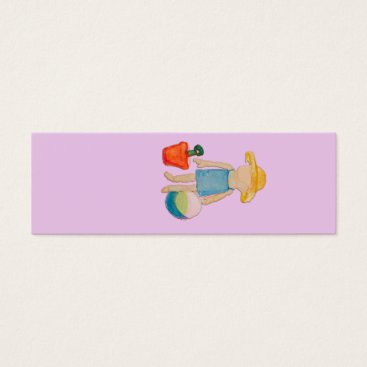 Beach Themed Baby Girl on Summer Beach Birthday Rose Pink Stamp Mini Business Card