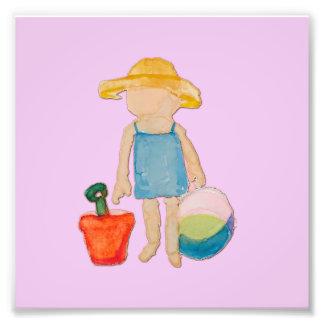 Baby Girl on Summer Beach Birthday Rose Pink Stamp Photo Print