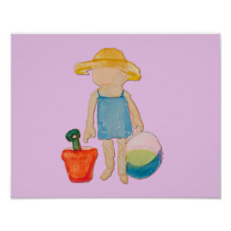 Baby Girl on Summer Beach Birthday Rose Pink Stamp Poster