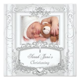 Baby Girl or Boy Christening Baptism Silver White Card