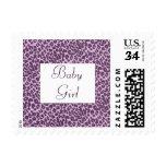 Baby Girl or Boy Purple Giraffe Pattern U.S. Postc Stamps