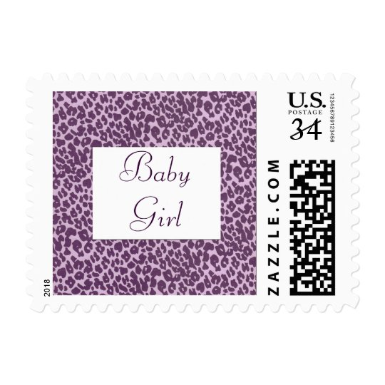Baby Girl or Boy Purple Giraffe Pattern U.S. Postc Postage