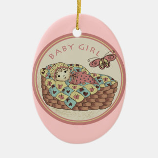 Baby Girl Double-Sided Oval Ceramic Christmas Ornament