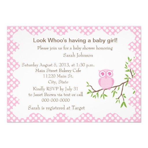 baby girl owl baby shower invitation 4 5 x invitation card