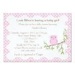"Baby Girl Owl Baby Shower Invitation 4.5"" X 6.25"" Invitation Card"