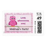 Baby Girl Owl Birthday Theme Stamp